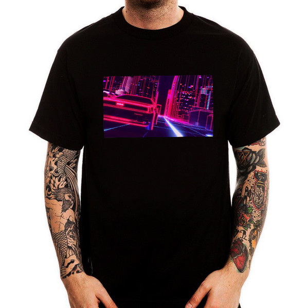 Retro Car Digital Night City Vaporwave Aesthetics T-shirt in cotone da uomo Top Tee Uomo T Shirt manica corta girocollo