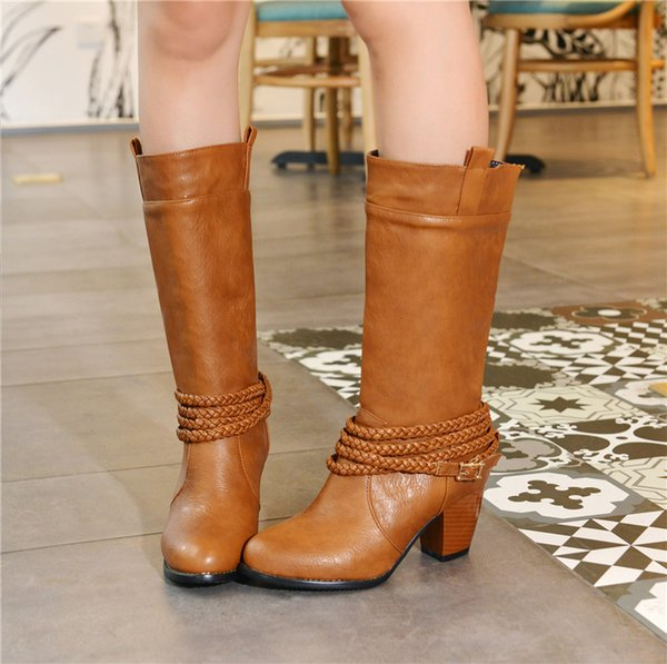 0c0dab3dbb0 YMECHIC Western Cowboy Boots For Women Black Brown Red Autumn Winter Woman  Shoes Retro Mid Calf High Heels Boot Ladies Shoes Skechers Boots Mid Calf  ...