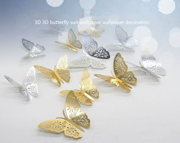 Bulk Lots Luxury 12pcs/lot Gold Silver Hollow Butterflies 3D Cinderella Butterfly Vintage Home Decor Wall Art Removable Wall Stickers