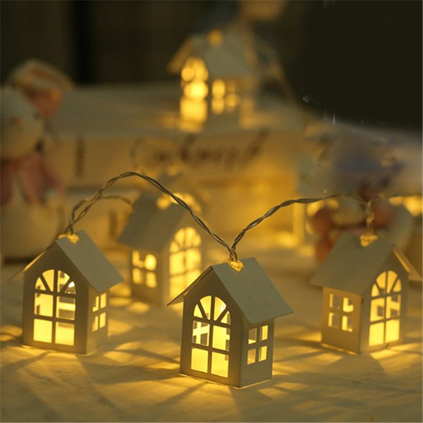 2M 10pcs LED Christmas Tree House Style Fairy Light Led String Wedding Natal Garland New Year Christmas Decorations for Home