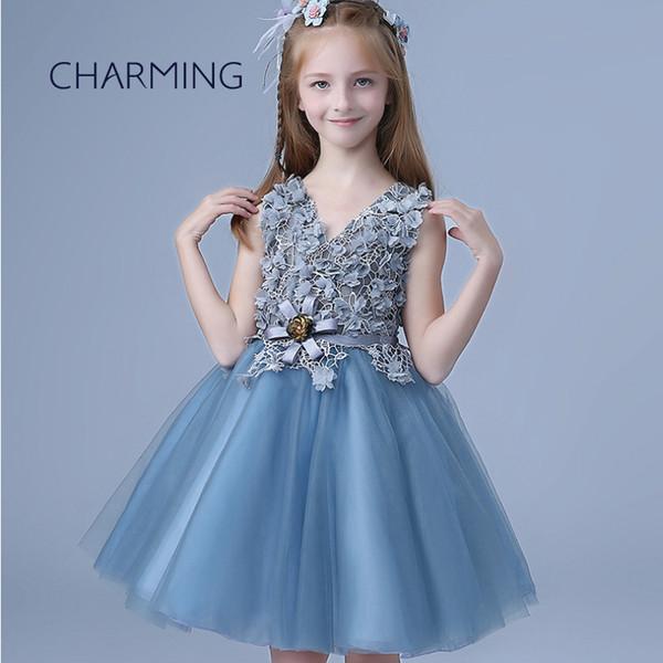 Compre Vestido De Niña Verde Azulado Vestido De Niña De Falda Princesa Adecuado Para La Actuación De Piano Falda Estilo De Cuello En V Vestidos