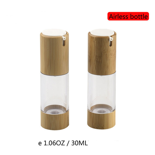 30ML Airless Cosmetic Foundation Bottle, Empty Bamboo Vacuum Lotion Pump Bottle, Superior Quality Anti-oxidation Clear Bottle