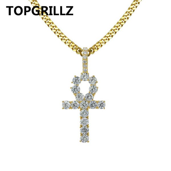 whole saleTOPGRILLZ Egyptian Ankh Cross Necklace for Women Men Jewelry Prayer Necklaces & Pendants with Cuban & Link Chain