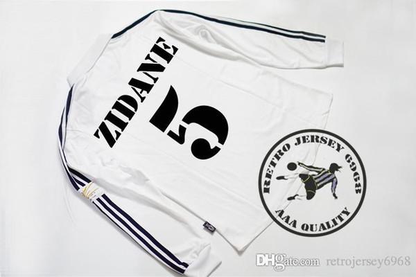 Spedizione gratuita 2002 reale madrid champion league finale maniche lunghe pullover di calcio zidane carlos raul ronaldo hierro solari figo vecchie camicie