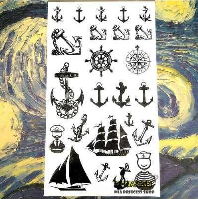 SHNAPIGN Marine Piraten Anker Temporäre Tattoo Body Art Arm Flash Tattoo Aufkleber 17 * 10 cm Wasserdichte Gefälschte Henna Schmerzlos Aufkleber