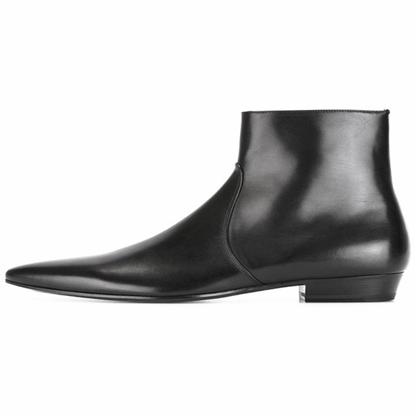 4354384bdca7 2019 fashion new Men s Boots Luxury brand winter designer boots shoes men  Pointed Toes Ankle Boots black eur size 38-47