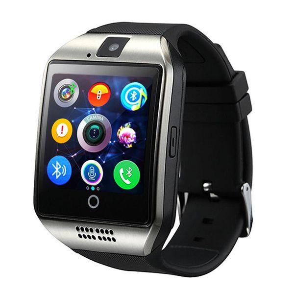 Q18 akıllı İzle Bluetooth Saatler DZ09 Kol Saati ile Kamera TF SIM kart Yuvası Pedometre Android IOS iPhone Samsung için Kutu ile Cevap Çağrı