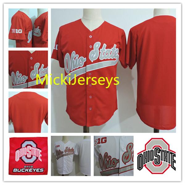 Mens NCAA Big Ten Ohio State Buckeyes COLLEGE Baseball Jerseys white red Stitched Ohio State Buckeyes jersey S-3XL