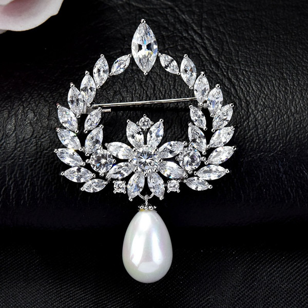 Fancy Crystal Brooch With Pearl For Women Luxury Brand Designer Brooch Pin For Dress Jewelry Lapel Pin Fashion Clothes Accessories Suit Pins