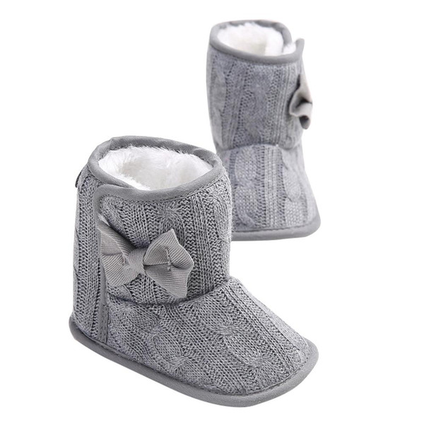 Fashion Warm Toddler Baby Girl Bow Snow Boots Anti-Slip Soft Sole Prewalker Crib Shoes