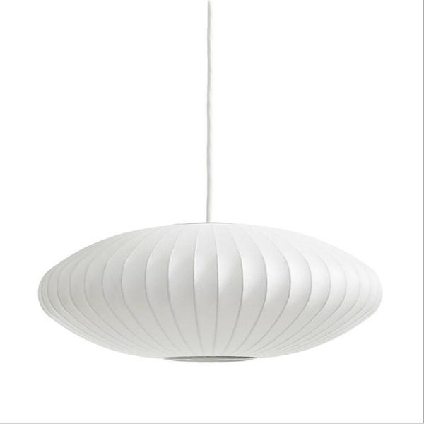 George Nelson Bubble Saucer Lamp E27 LED White Silk Pendant Light White Silk Flat Ball Pendant Lights Lamp White Silk hanging Lighting