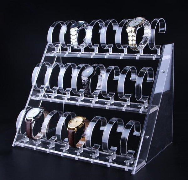 Klarer Acryluhrausstellungsstand drei Reihen des 24 Bit-Uhr-Halter-Schmucksache-Schaukasten-Uhr-Armbandausstellungsgestells geben Verschiffen frei
