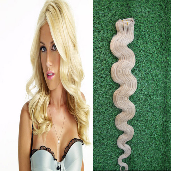 7Pieces/Pack 613 Bleach Blonde Brazilian Machine Made Remy Body Wave Clips In Human Hair Clip In Extensions