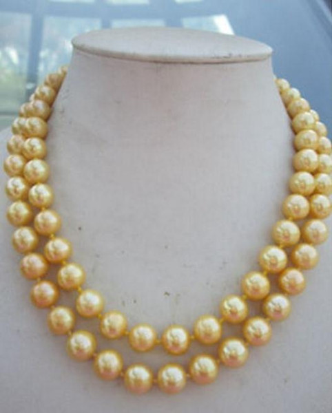 35 inch Natural AAA 8mm south sea gold shell pearl necklace 925 Silver Clasp