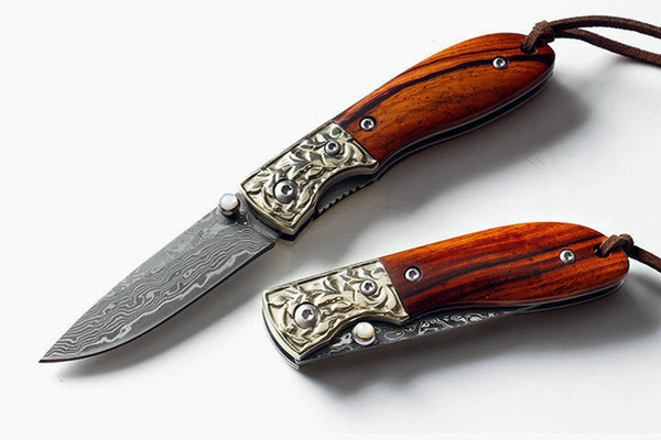 New EDC Pocket Folding Knife Damascus Steel Blade Rosewood Handle Liner Lock Small Folding Knives With Nylon Bag