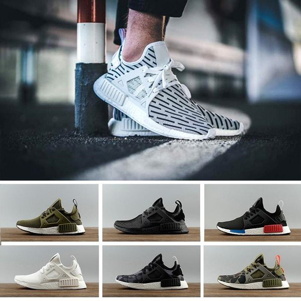 67580a9f13449 Newest NMD XR1 Running Shoes Mastermind Japan Skull Fall Olive green Camo  Glitch Black White Blue