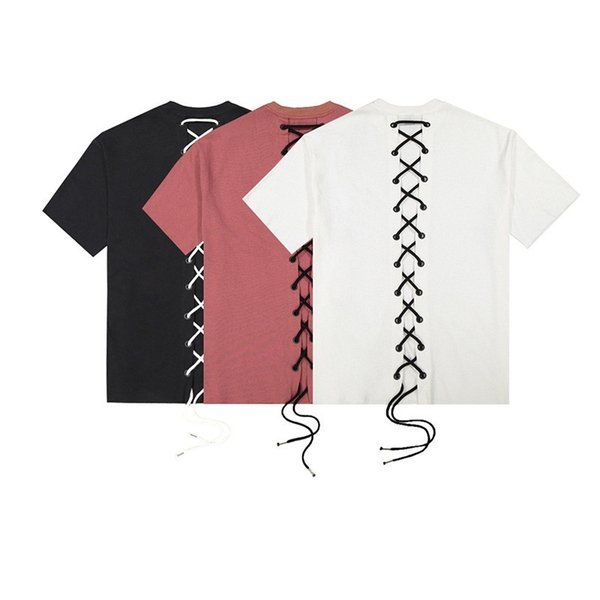 New Design Fashion Hip Hop Men 100% Cotton Oversized T Shirt String On Back Pullover Tops High Street Clothes