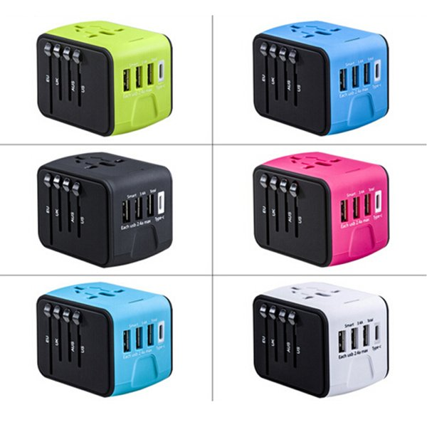 Universal All-in-one USB Travel Adapter Power Adapter with 3-port USB 1 Type C portable Charger Wall Outlet Plugs For business travel of US