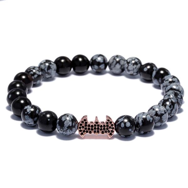 Black Natural Stone  Bracelet For Women Cool Bat Bead Bracelet Men Energy Prayer Yoga Strand Dropshipping
