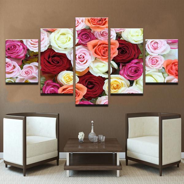 Satın Al 5 Parça Güzel Renkli Gül çiçekler Tuval Boyama çerçevesiz Duvar Sanatı Modüler Resim Ev Dekor Lover Hediye 1709 Dhgatecomda