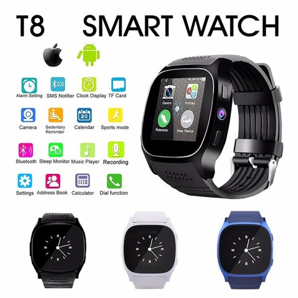 T8 Men Kids Bluetooth Smart Watch With Sim Card Slot Camera Alarm Clock MTK6261D 380mah Battery For IOS Android Smartwatch PK U8