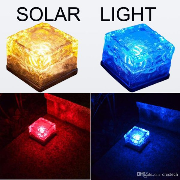 Fashion deco lights Ice cube LED Solar energy underground solar lights DHL free shipping flash ice cube lamp lighting sensor