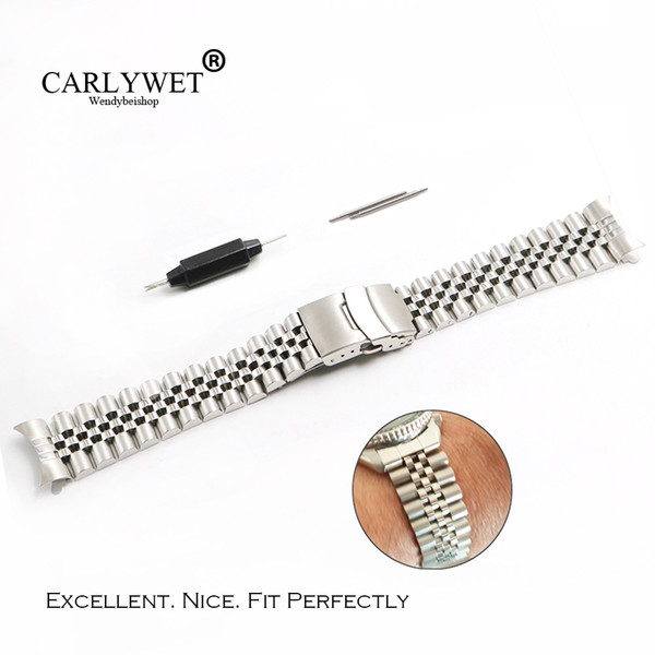 Carlywet 22mm Hollow Curved End Solid Vite Links Acciaio inossidabile Argento Cinturino VINTAGE Jubilee Bracelet Double Push Clasp