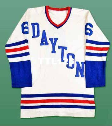 Real Men real Full embroidery #6 Dayton Gems IHL Vintage Hockey Jersey or custom any name or number Jersey