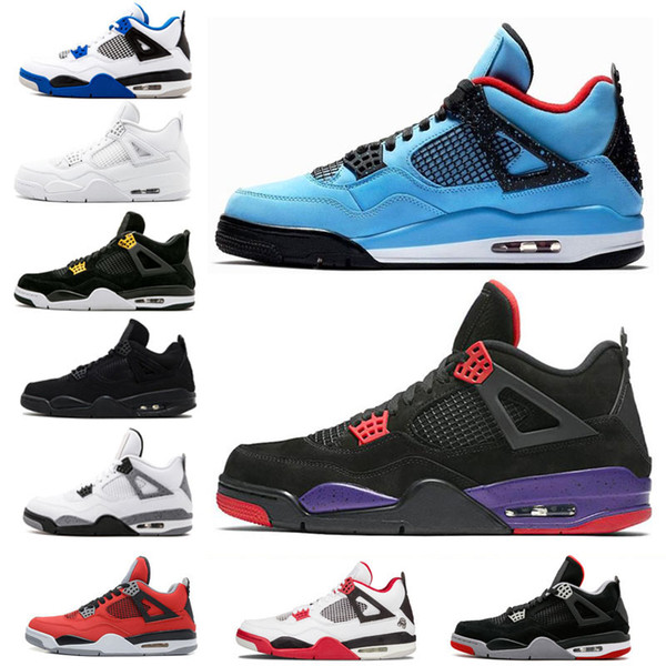 with box Travis 4 Cactus Jack Raptors mens Basketball Shoes Fire Red bred Pure Money Toro Bravo White Cement black cat Sports Sneakers