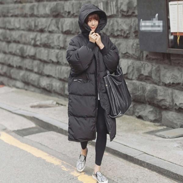 Preto Plus Size Coréia Moda Feminina Outwear Grosso Quente Parka Oversize Fur Duck Down Casaco de Inverno Mulheres Retro Com Capuz MZ1072