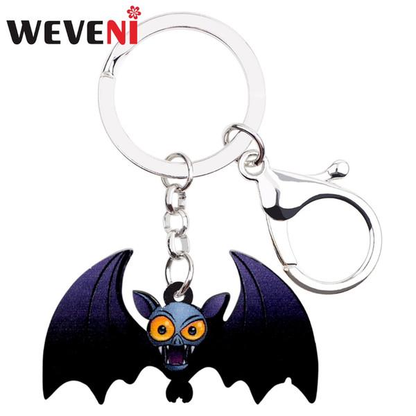 WEVENI Acryl Halloween Crazy Bat Schlüsselanhänger Schlüsselanhänger Ring Dekoration Tier Schmuck Für Frauen Mädchen Jugendliche Geschenk Tasche Auto Charme