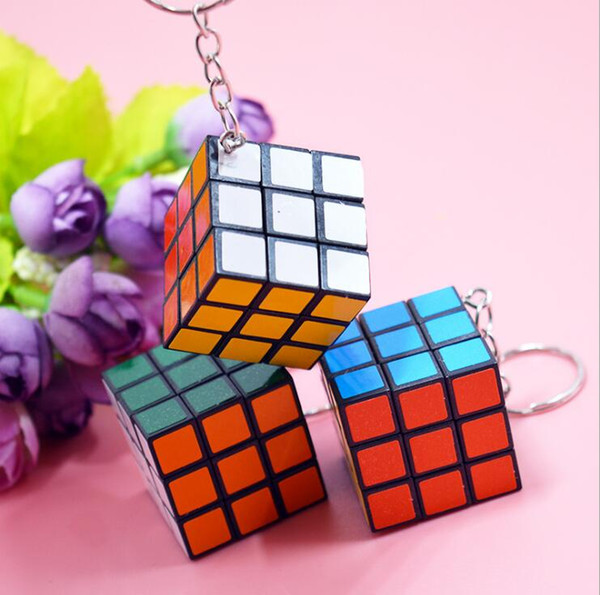best selling 3x3x3cm Mini Magic Cube Puzzle Keychain Magic Game magic Square key ring learning education game cube good Gift toys key