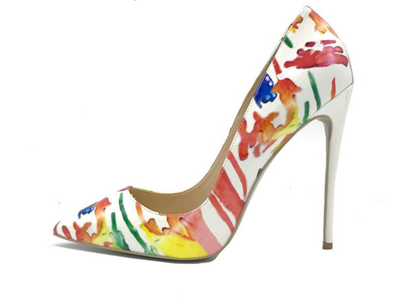 Free Shipping fashion new woman women lady 2018 new design flame heels printed lady shoes sexy high heels multicolors women pumps 12cm
