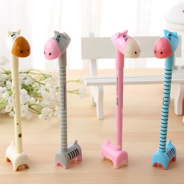 4 piezas Corea estilo Creativo encantador soporte burro colorido bolígrafo Lindo nuevo diseño de escritorio Ensamble jirafa gel Pen