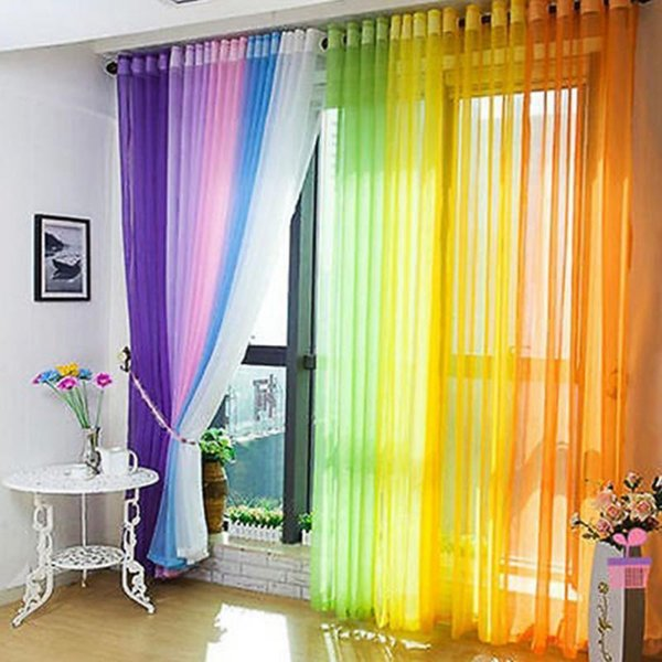 Inicio Panel de ventana Curtainf For Living Room Divider Yarn String Cortina de cortina Drape Decor Cortinas 11 colores 200cm X 100cm