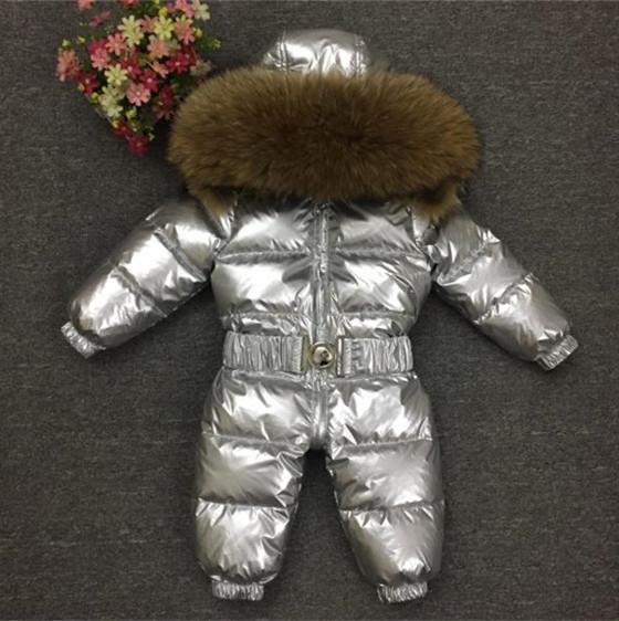 2018 Brand New Winter Baby Kleidung Jungen Mädchen Overall Strampler Duck Down Overalls Echt Pelzkragen Kinder Oberbekleidung Kinder Schneeanzug 1-5 T