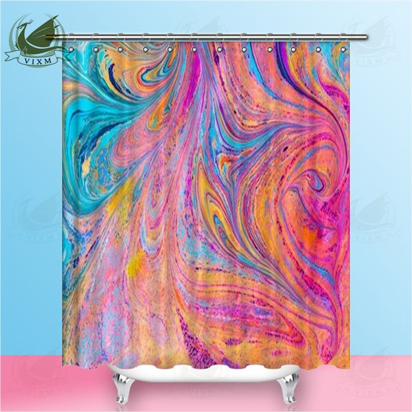 Vixm Geometric Marble Abstract Hand-Painted Art Shower Curtain Polyester Fabric Color Water Curtain Home Decoration