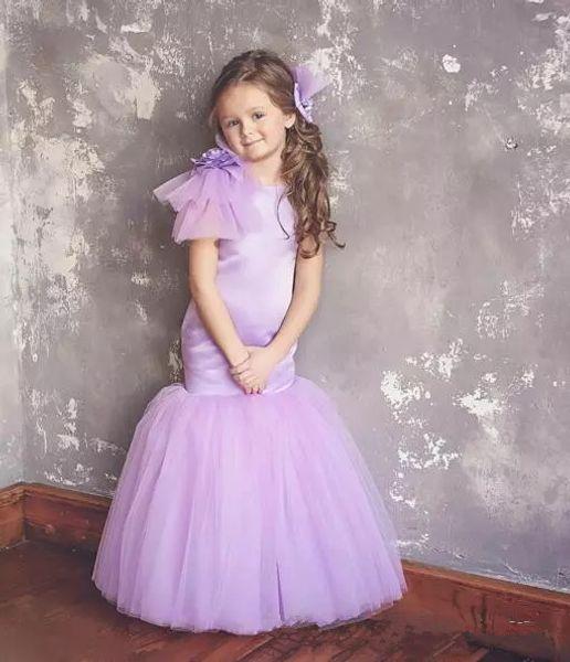 Сирень Русалка Первое причастие платья 2019 скромный Cap рукавом полная длина девушки цветка платья для свадьбы младший платье невесты