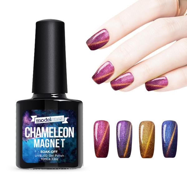 Wholesale Hot 10ml UV Chameleon Gel Nail 3D Magnetic Cat Eye Soak Off UV Gel Polish Glitter Varnish 12 Color for choose
