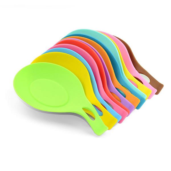Silicone zuppa cucchiaio isolante stuoia silicone Tovaglietta resistente al calore bere sottobicchiere in vetro Multicolor Cucchiaio Pad Accessori da cucina