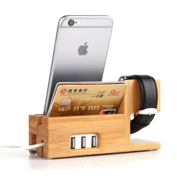 Universal 3 USB Wood Phone Charger Docking Station Soporte para teléfono móvil Smartphone Soporte de soporte de bambú para Apple Watch ipad Holder