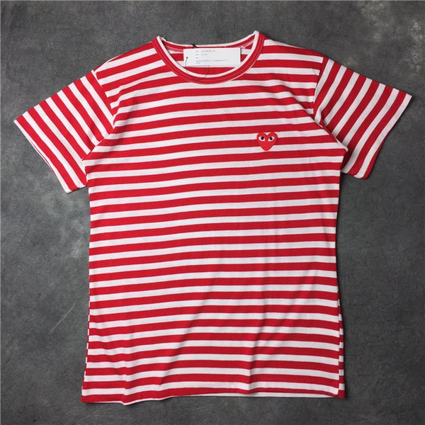 2018 Summer New Play CDG striped vetements Tee Cotton Short Sleeve Breathable Men Women Red love heart tshirt Casual Streetwear T-shirts