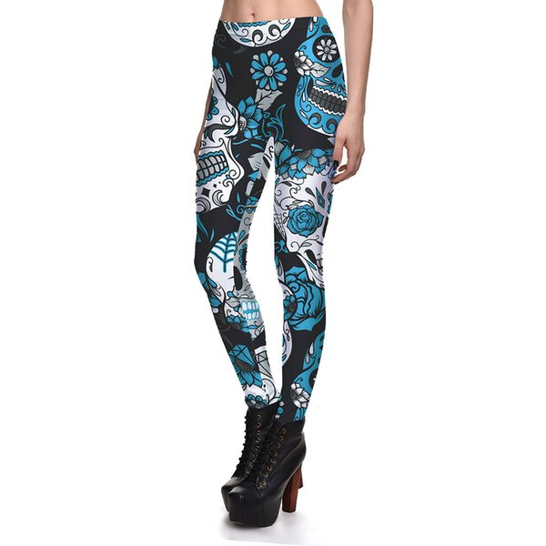 Fashion Color Large Skull Printing Ms. Leggings Halloween Women High Quality Breathable Sweat-Absorbent Yoga Leggings Plus Size 4XL New