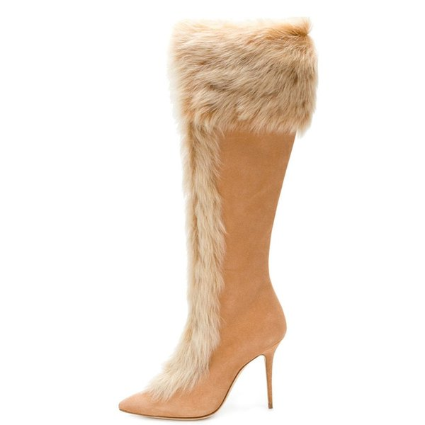 Fashion Women Ladies Pointed Toe High Heel Knee High Boots Warm Faux Fur Winter Party Dress Shoes Zipper Beige Tan Size 4~15.5