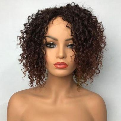 Pre-plucked Bob Lace Front Wigs Glueless 130% Density Short Cut Curly Brazilian Virgin Human Hair With Baby Hair Full And Thick