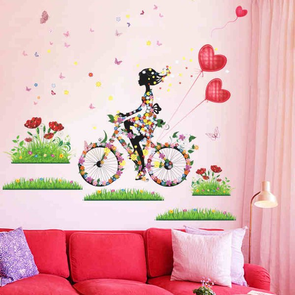 flower girl butterfly wall stickers colorful living room decor 057. creative gift home decals print mural art diy poster 5.0haif