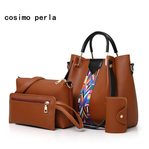 Set di borse 4 pezzi Borse in materiale composito per borse da donna Borse a tracolla Fashion Causale Borse da donna a tracolla con tessera rosa grande 2018