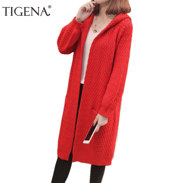 New 2018 Autumn Winter Long Sleeve Knitted Sweater Cardigans Women Winter Jackets Coats Red Pink Hooded Long Cardigan Female
