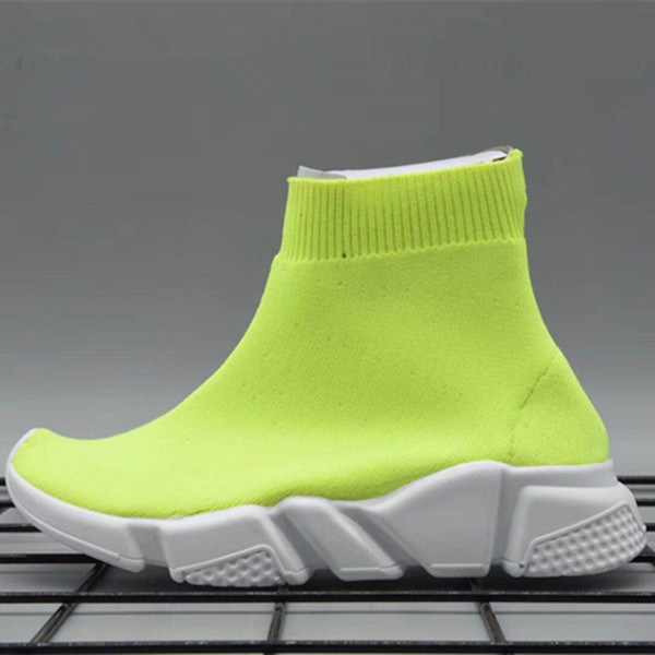 best selling Knitted Sock Runner Knit Kids Speed Trainers Mid High Running shoes Black Red White Infant Sneaker Children sports shoes girls boys shoes