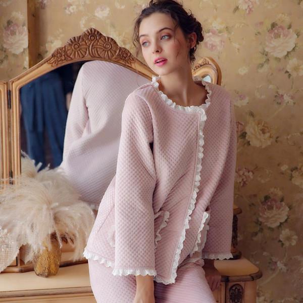Algodão engrossar princesa pijama define inverno quente feminino rendas patchwork calças Confortáveis ternos Usar roupas fora gx1507